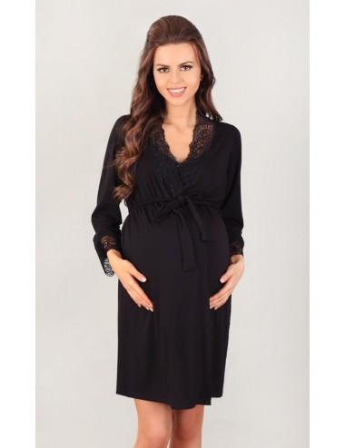 3026 - Dámsky župan - tenký, krátky, čierny, splývavý - pre tehotné